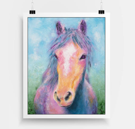 Horse Art Print - Horse Gift, Horse Decor, Horse Gifts for Her, Horse Gifts for Girls, Horse Lover Gift, Horse Wall Art, Rainbow Horse.