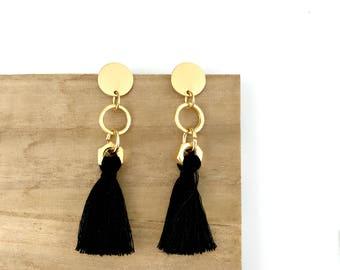 Black gold statement earrings, long tassel earrings, black dangle earrings, nulika