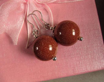 Earrings Gold Stone Sparkling 18mm Round Beads 925 ESDR2393