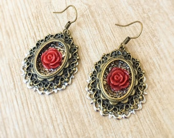 Red Rose Cameo Earrings, Filigree Framed Flower Earrings, Red Resin Rose Earrings