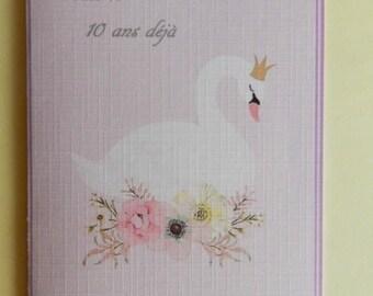 Greeting card. Very cute girl birthday card. Handmade, handcrafted