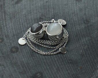 Double Rolling ball like Grey and White Moonstone silver necklace