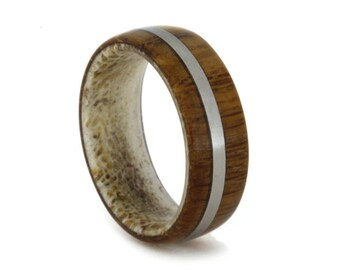 Wood Wedding Band with Titanium Stripe and Genuine Deer Antler Sleeve, Waterproof Ring Armor Included