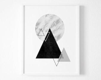 Geometric Triangle  Wall Art Prints Geometric Art - Geometric Prints - Circle Art  - Triangle Art, Geometric wall art - Geometric Poster