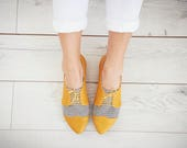 Yellow leather shoes, Polly Jean, flat leather oxford shoes