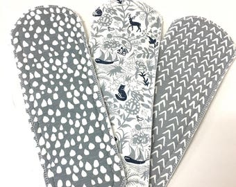 Natural Girl re-useable cloth pads x3 pack REGULAR. PUL or micro fleece backing.