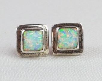 Vintage Sterling Silver Floral Opal Stud Earrings signed FM