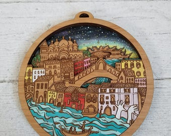 Venice Art Wall Hanging, Venice Mini City by Rylee and Ink, Italy map art, Custom Engraving, Personalized gift, Gift for travelers