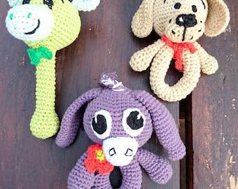 Rattle crochet  - amigurumi handmade beanbag eco lovely toy donkey, doggy, giraffe - 14 cm tall hochet