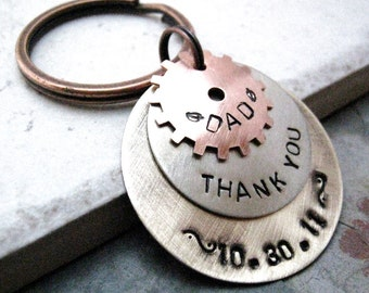 Personalized Gear keychain, Men's keychain, 3 layer keychain, rustic keychain, Dad's keychain, Father's Day Gift, gifts for him