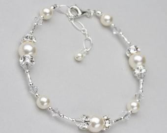 Pearl and Crystal Bracelet, Swarovski Wedding Jewelry for the Bride, Pearl Bridal Jewelry, Wedding Bracelet, White or Ivory Pearl Bracelet