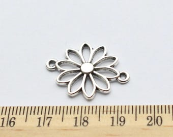 6 Flower Connector Charms - EF00045