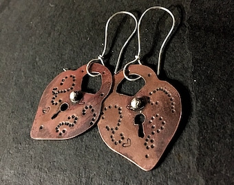 Copper and silver Handmade Earrings ,2.1/2 inches long
