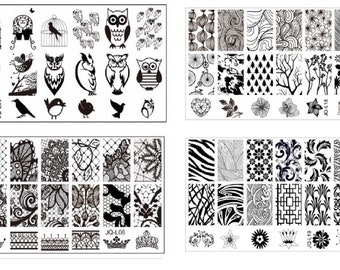XL Nail Stamping Plate CLEARANCE Owl skull Flowers Spider Animal print