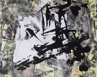 Title: Neon-Dirty, 30 x 30 cm, abstract painting, acrylic on canvas