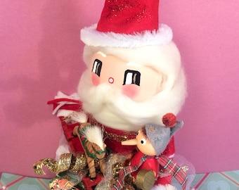 Santa Claus doll santa christmas centerpiece santa tree topper vintage retro inspired art doll