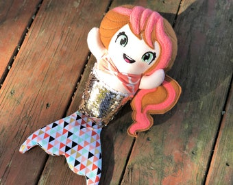 Sequin Mermaid Doll - Sequins - Coral - Gold - Handmade Mermaid Doll - Mermaid Rag Doll - Mermaid Toy - Gift for Girls - Christmas Gift