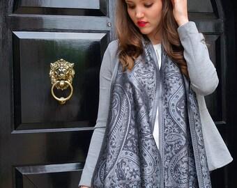 Silk grey metallic scarf