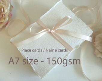 Cotton Rag Paper - Hand made paper - A7 - torn edge hand made place name cards - 150gsm - 100% recycle - Indian - deckle edge - Pure Invites