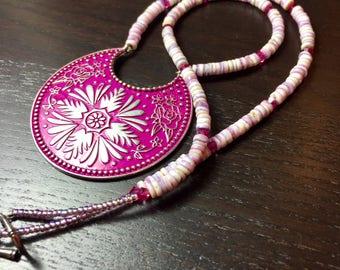 Paradise Punch Medallion and Puka Shell Necklace