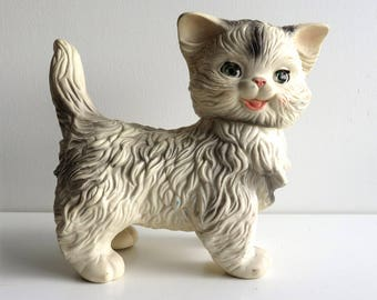 """Vintage Squeaky Toy, 1960s Edward Mobley Squeak Cat, Large 9"""", Blinking Sleepy Eyes, Arrow Rubber Squeaker Doll, Mittens the Fluffy Kitten"""