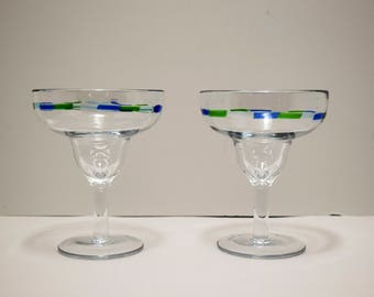 Pair of Hand Blown Mexican Margarita Glasses~ Large~ Green~Blue~Clear~ Dash design~Mixed Drink~Bar ware~Classic~12 fl oz~Modern~