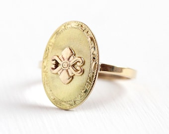 Antique Flower Ring - 10k Yellow & Rose Gold Edwardian Floral Statement - Size 7 1/4 Vintage Fine Cufflink Conversion Fleur De Lis Jewelry