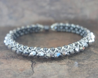 Crystal Tennis Bracelet in Silver and Black