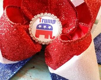 Trump Hair Bow...Republican Hair Bow...Campaign Hair Bow...Political Hair Bow..Election Hair Bow...Convention Hair Bow