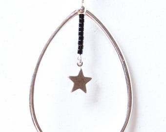 Necklace drop and star - silver color Metal