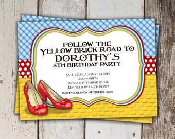 Wizard of Oz Birthday Invitation - Follow the Yellow Brick Road - Birthday Party - Print yourself