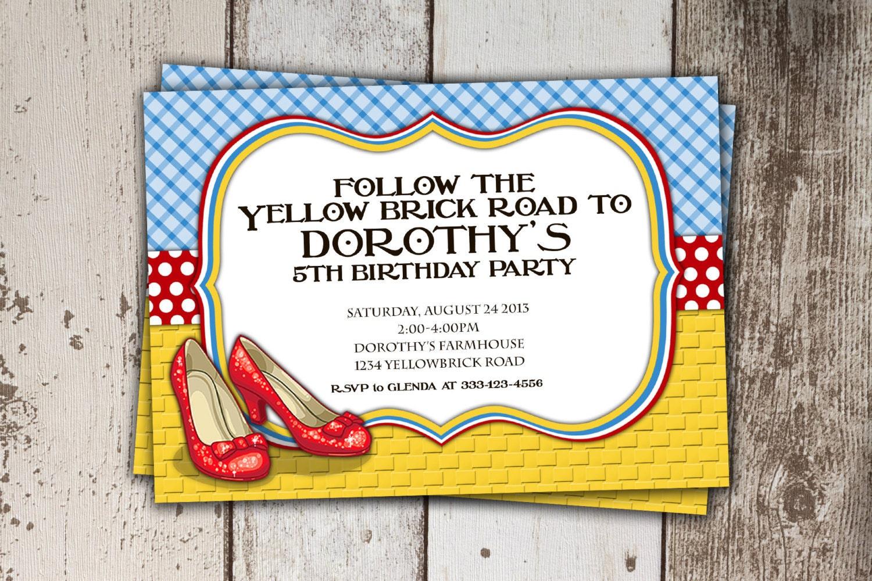 Wizard Of Oz Birthday Invitation Follow The Yellow Brick
