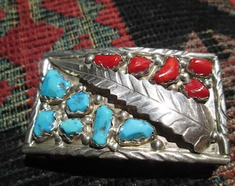 Zuni Wayne Calavaza Turquoise, Coral and Sterling Silver Feather Belt Buckle