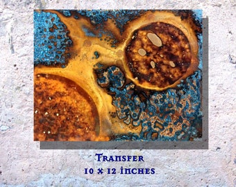 """Art Painting Copper Art Abstract Patina Painting """"Transfer"""" 10 x 12"""" Metal Wall Art"""