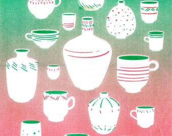 Cups & Vases Art Print | 11x17 Poster | Kitchen Decor | Gradient Risograph