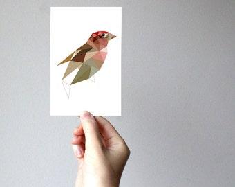 B75 - purple finch  - Geometric bird art print