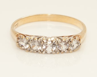 Vintage 9ct Yellow Gold Spinel 5 Stone Half Eternity Ring, Size Q