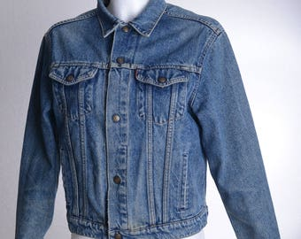 Vintage 80s Italy-made LEVI'S 73405 Denim Jacket with snap buttons Stonewashed Blue Levis - Women-Sz. ca. S