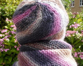 Multicoloured knitted grey, rose and beige hat / beanie, scarf and fingerless gloves set, 100% wool, perfect gift for her, feltable