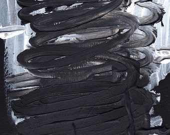 black/grey/gray/white spring- acrylic painting/print- 5x7