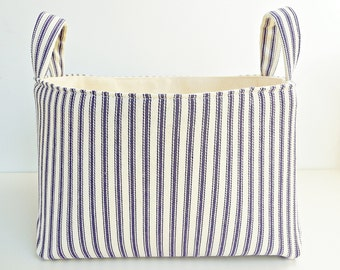Storage Basket Fabric Organizer in Classic Ticking Stripe Blue & Natural Bin with Handles - Gift Basket - Your Choice of Size