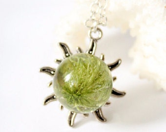 green necklace boho jewelry silver sun necklace natural necklace terrarium jewelry moss jewelry mom gift wife birthday gift sun jewelry Р144