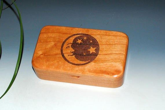 Handmade Wood Box - Engraved Moon Stars Wooden Box - Stash Box, Crescent Moon Box, Jewelry Box, Treasure Box, Wooden Boxes, Keepsake Box,