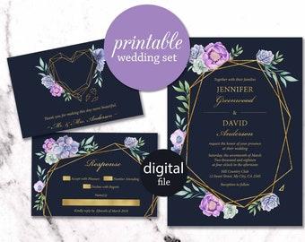 Floral Geometric Wedding Invitation Printable Boho Wedding Invitation Summer gold purple navy Wedding invite Succulent wedding invitation