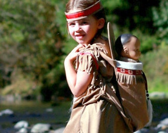 Dress/Papoose set Native American inspired Indian Girl pretend dress up fun set for children size 1T through kids size 12