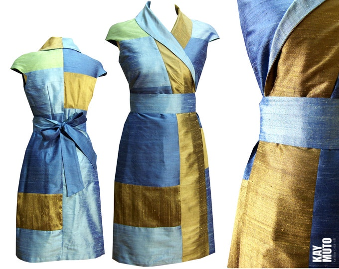 Silk kimono wrap dress Sashiko style blue white willow gold