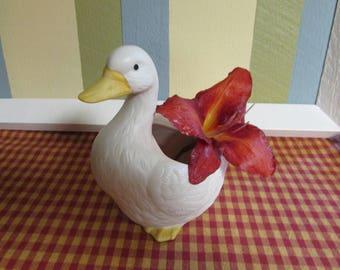 VINTAGE Homco porcelain Bisque planter / Mid century Planter HOMCO vintage duck planter by Homco flower Vase