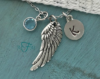 Angel Wing Charm Necklace, Personalized Necklace, Silver Pewter Angel WIng Charm, Custom Necklace, Swarovski Crystal birthstone, monogram