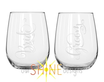 Bride and Groom Personalized Etched Stemless Wine Glasses or Beer/Mason Glasses - Engraved wedding glass - personalized gift - Wedding Gift