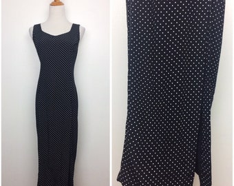 Vintage 80s Dress/ 80s Black and White Polka Dot Midi Dress/ Medium Large